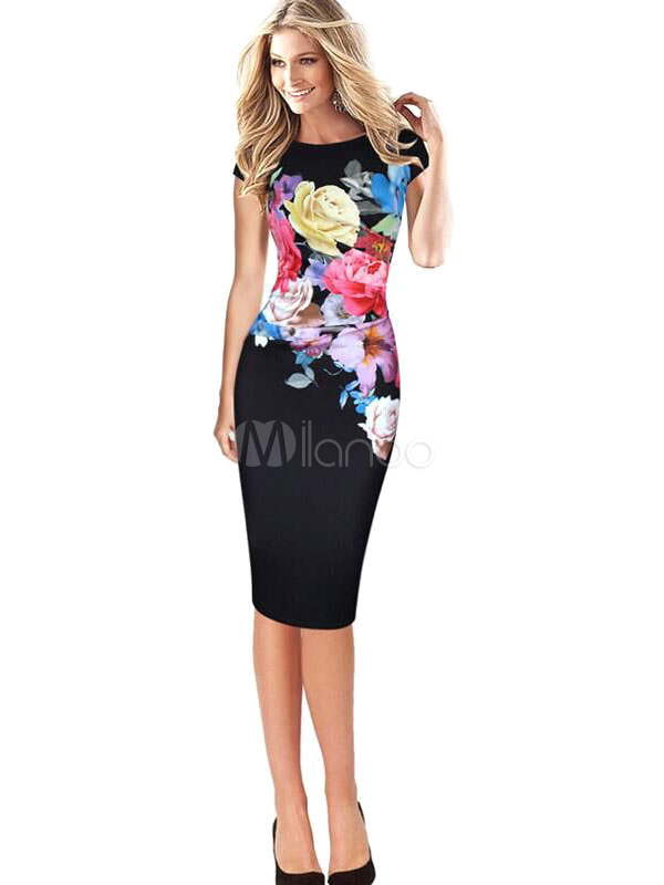 Buy Black Bodycon Dress Round Neck Short Sleeve Floral Printed Slim Fit Sheath Dress for $30.01 in Milanoo store