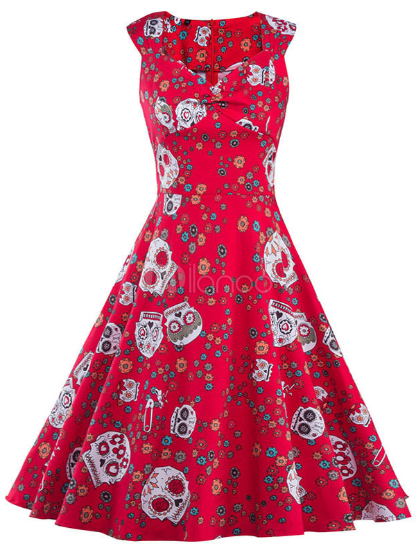 Buy Red Vintage Dresses Floral Printed Women's A Line Sweetheart Sleeveless Flare Retro Dress for $33.24 in Milanoo store