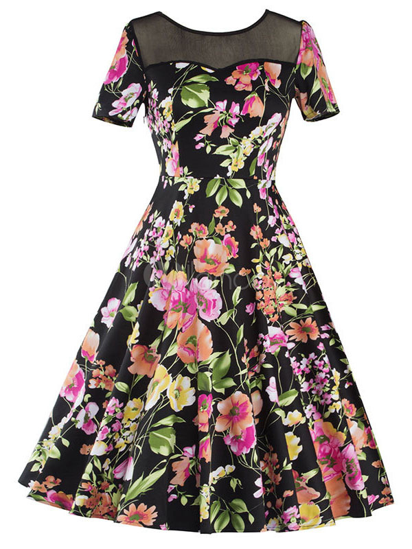 Buy Floral Vintage Dresses Women's A Line Short Sleeve Illusion Crew Neck Pleated Retro Dress for $33.24 in Milanoo store