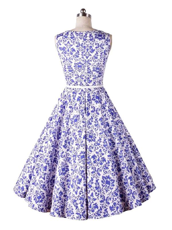 Rétro Femme Ceinture Violette Vintage Évasé Imprimé Floral Manches De Robe Sans Avec Col nOPXk80w