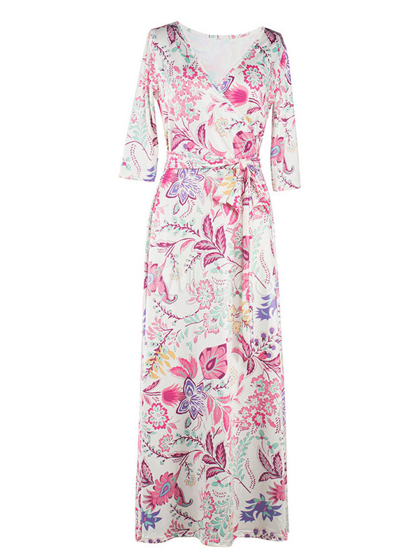 Buy Women's Maxi Dress V Neck 3/4 Length Sleeve Floral Printed Long Dress for $29.69 in Milanoo store