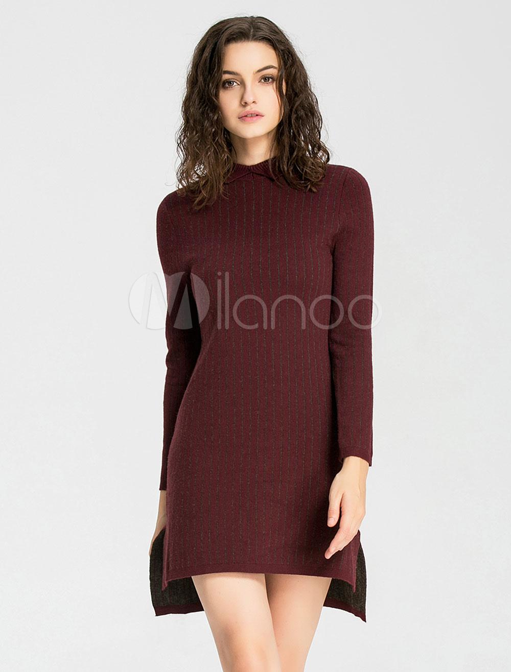 2f7c6c3b43e5 Fabuleuse robe pull Longueur cheville casual avec rayure et tricot devant  court et derrière long col ras du cou travail - Milanoo.com