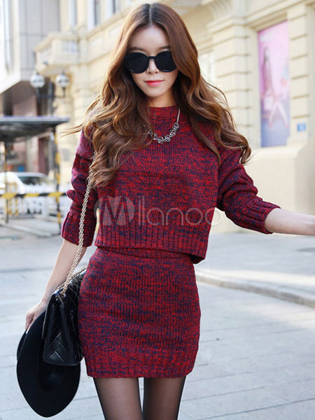 Buy 2 Pieces Skirt Dress Women's Long Sleeve Pullover Sweater With Bodycon Mini Knit Skirt for $35.99 in Milanoo store