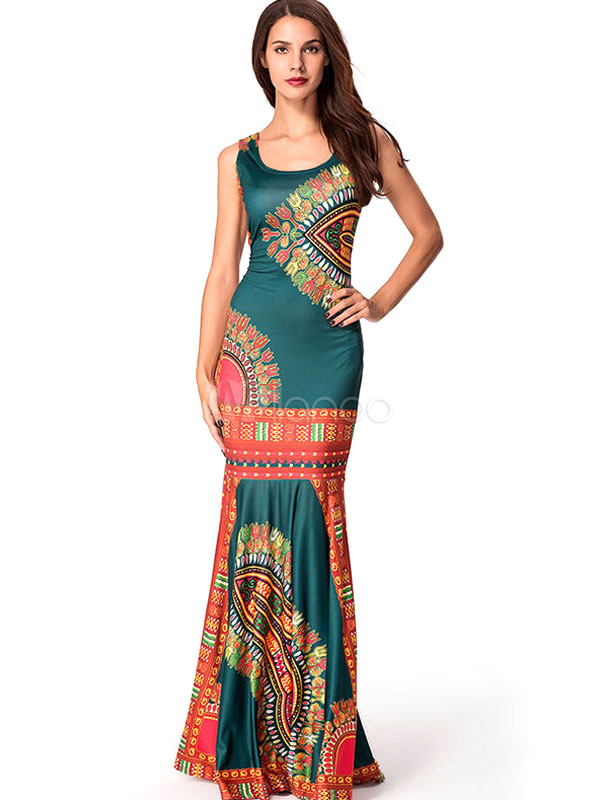 Buy Boho Maxi Dress Mermaid Sleeveless Printed Women's Floor Length Long Dress for $35.99 in Milanoo store