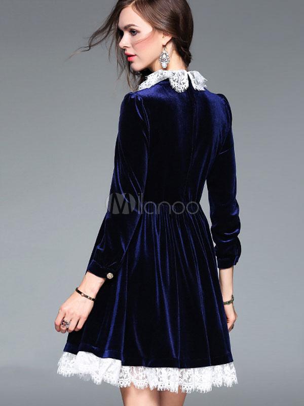 reputable site 35857 88850 Vestito a pieghe pieghe velluto blu manica lunga pizzo Trim donne vestito