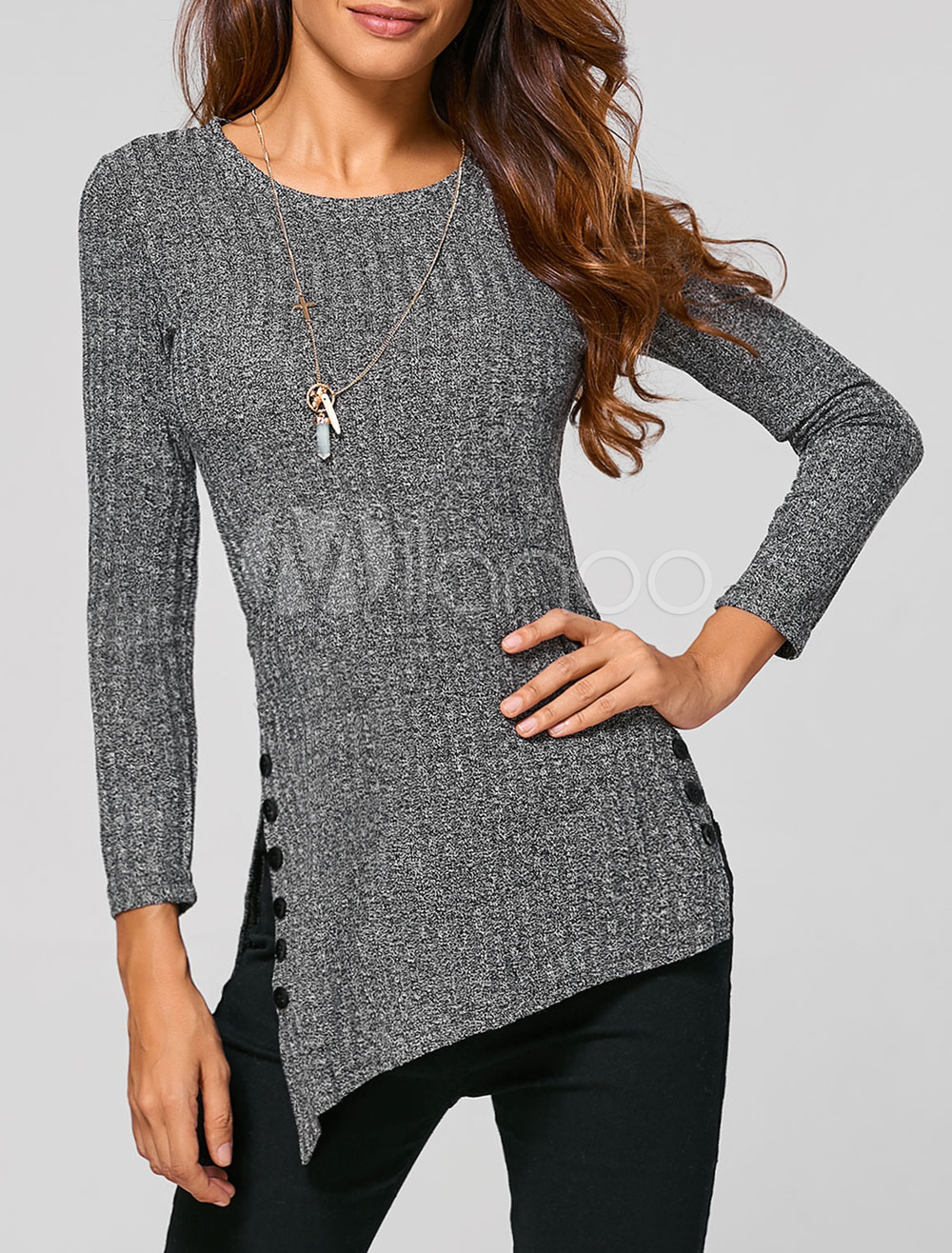 Buy Grey Pullover Sweater Women's Long Sleeve Side Slit Round Neck Knit Sweater for $15.99 in Milanoo store