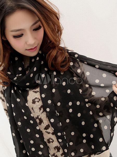 Chiffon Black Scarves Women's Polka Dot Printed Lightweight Scarf