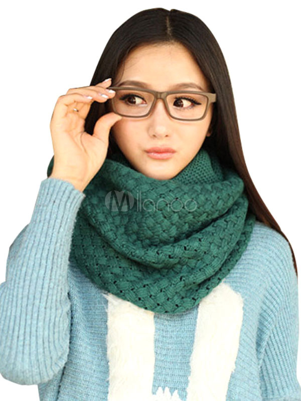 Knit Infinity Scarf Women's Crotchet Circle Scarves For Winter