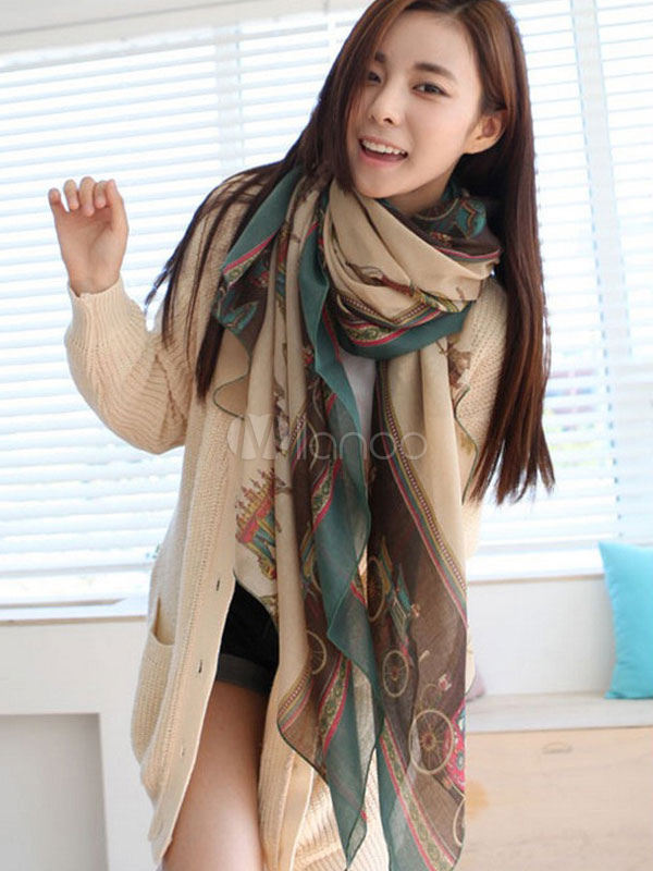 Women's Cotton Scarf Multicolor Carriage Printed Lightweight Scarf