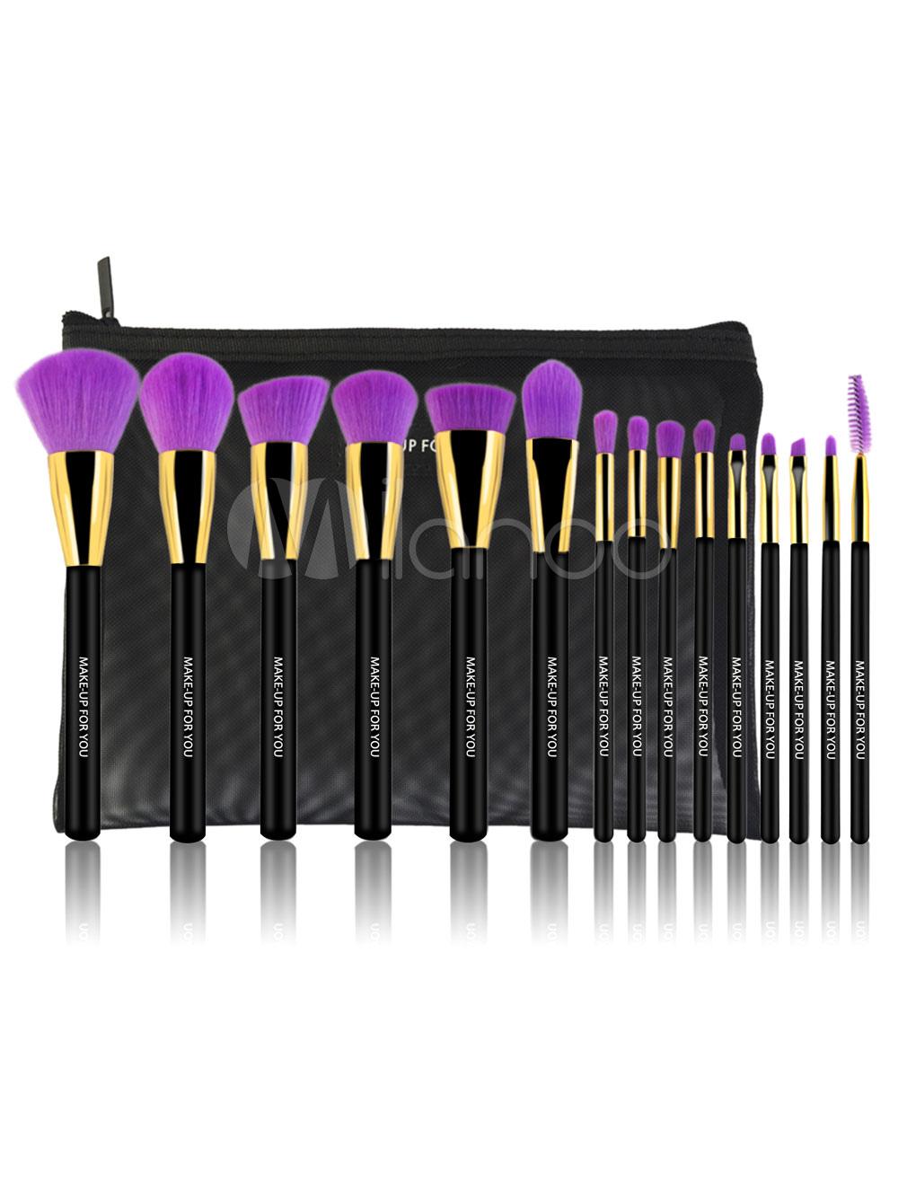 Black Makeup Brush Set Women's Microfiber Makeup Brushes In 15 Piece Set