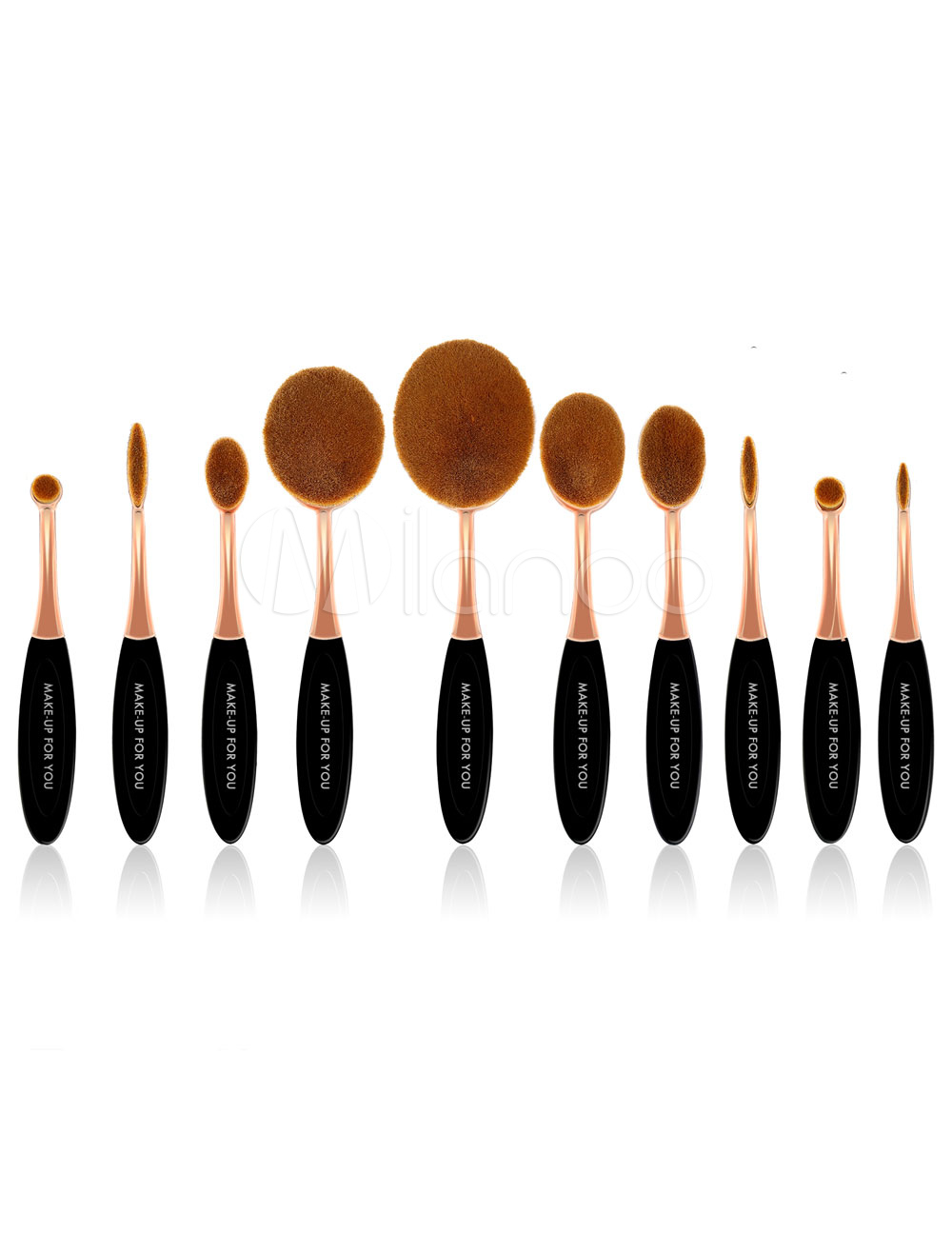 Gold Makeup Brushes Women's Microfiber Oval Brush Set In 10 Piece