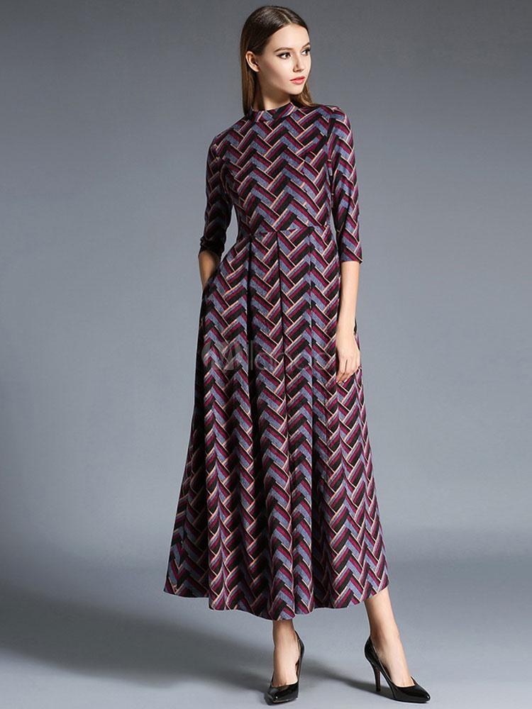 c82b3e7b2b6 Burgundy Maxi Dress Zigzag Pleated Crewneck Winter Long Dress For  Women-No.1 ...