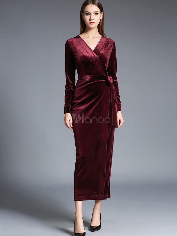 105c4757db7 Robe longue en velours de soie unicolore moulant avec ceinture col V -No.1  ...
