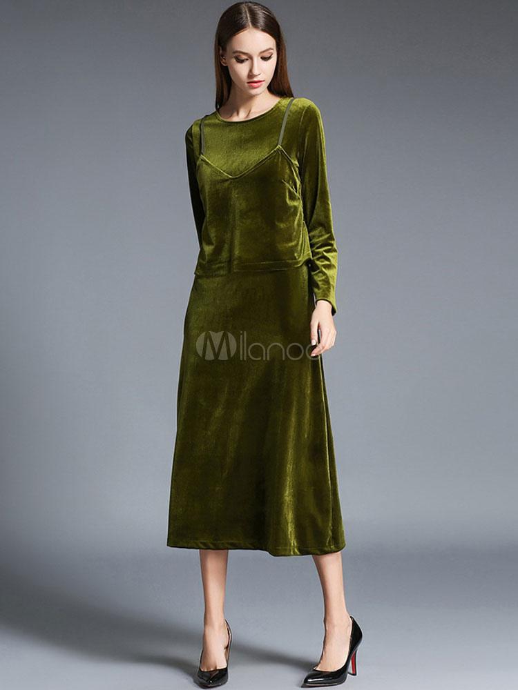 7a8c229b02b Robe longue vert en velours de soie unicolore moulant col rond -No.1 ...