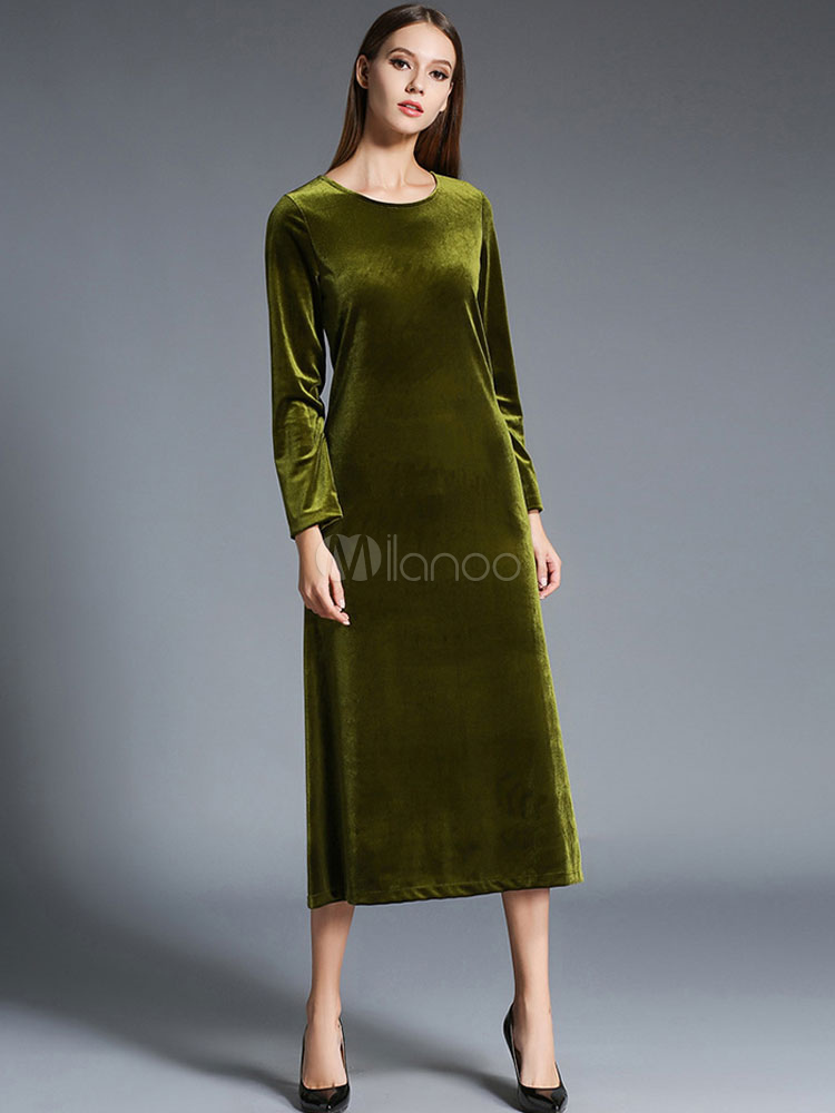 robe longue vert en velours de soie unicolore moulant col. Black Bedroom Furniture Sets. Home Design Ideas