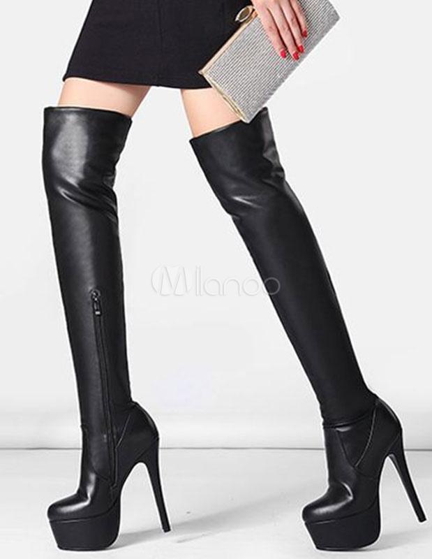 Plataforma alta botas negro sobre la rodilla stiletto muslo botas altas para las mujeres WOKPIKnJ