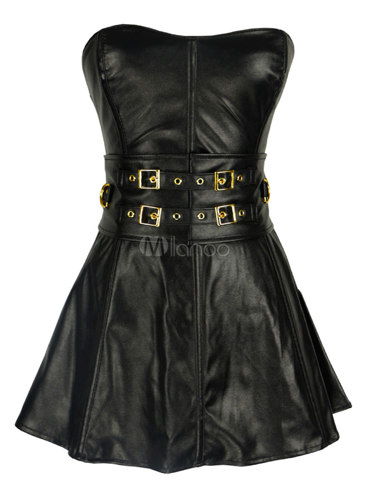 Sexy Black Corset Sweetheart Sleeveless Lace Up Corset Dress With T-Back