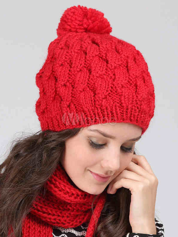 Red Beanies Hat Women s Cable Knit Hat With Pom Poms - Milanoo.com 7f6ccb9f475
