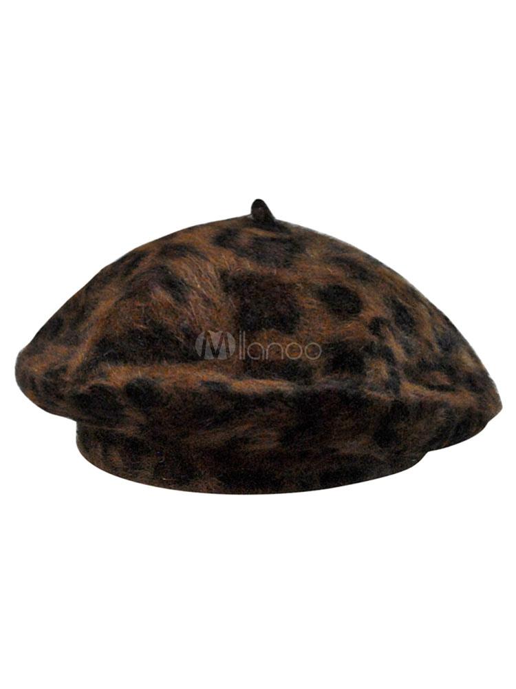 Da Leopardo Lana Stampa Di Beret Chic Cappello Donna aqXd44