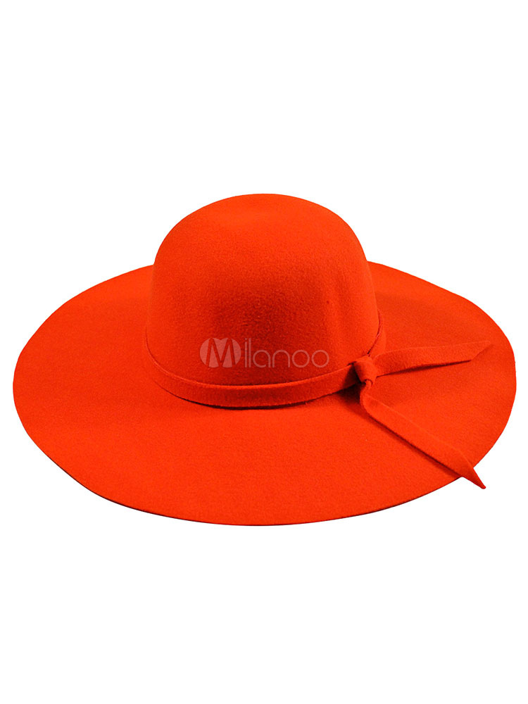 ac9e4906107 ... Red Wool Hat Women s Round Toe Wide Brim Floppy Hat With Bow-No.9 ...