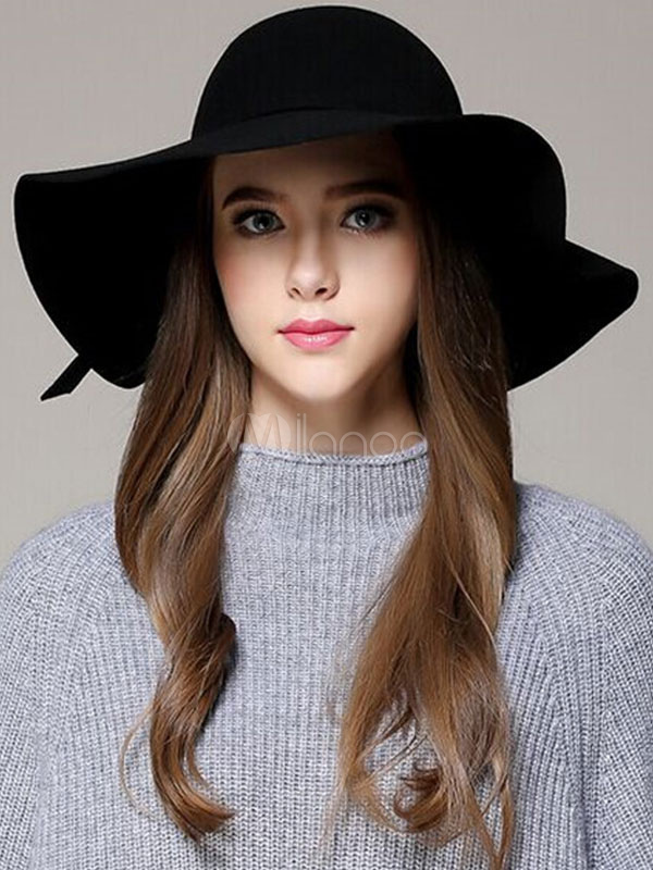 c6153716645 ... Red Wool Hat Women s Round Toe Wide Brim Floppy Hat With Bow-No. ...