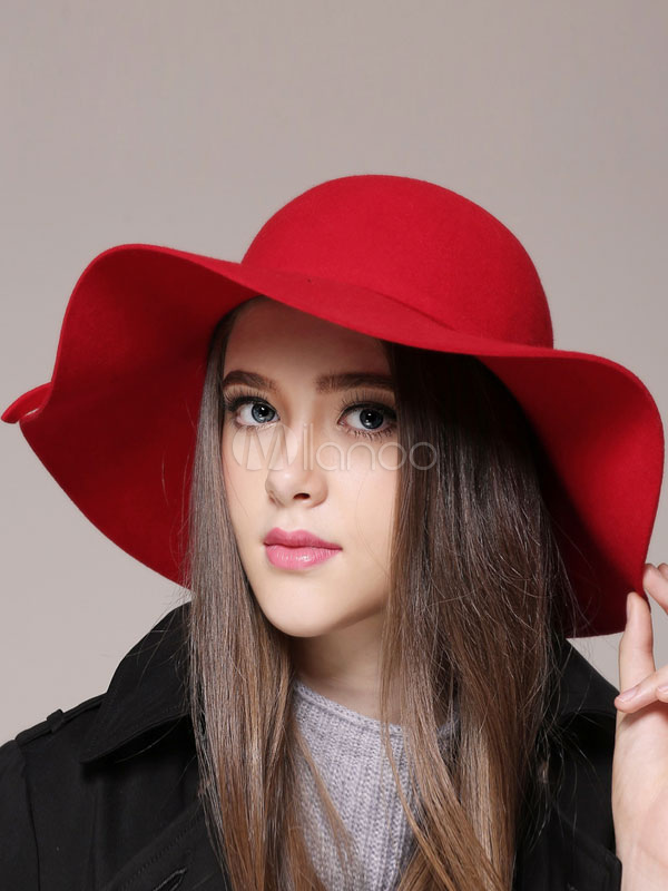 Red Wool Hat Women s Round Toe Wide Brim Floppy Hat With Bow ... 4787f0fe95f