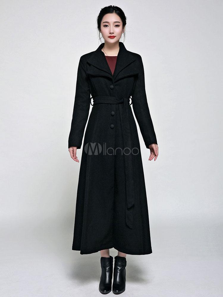 cappotto nero lungo con bottoni donna