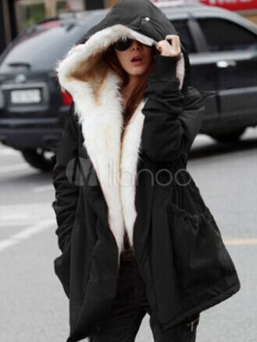 Lined Winter Coat Black Women's Faux Fur Hooded Warm Coat Cheap clothes, free shipping worldwide