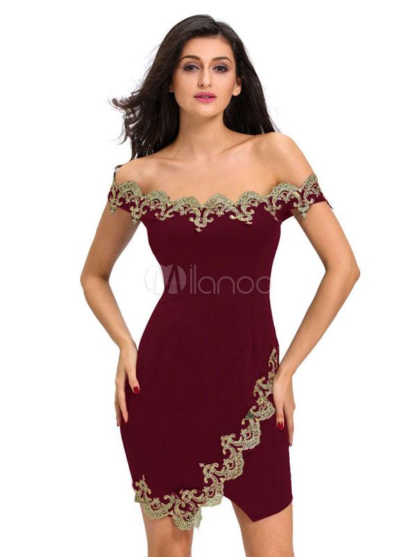 online store 946b0 3e6d3 Bordeaux Bodycon Abito pizzo Applique vestito senza bretelle manica corta  Slim Fit breve