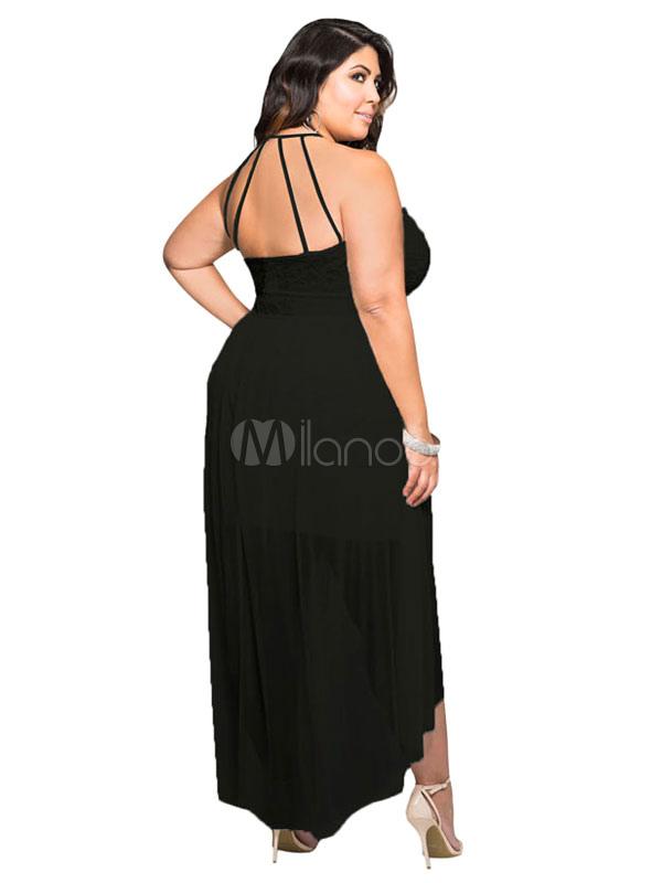 Sexy schwarzen Kleid Spitze Neckholder ärmellos rückenfreie High-Low ...