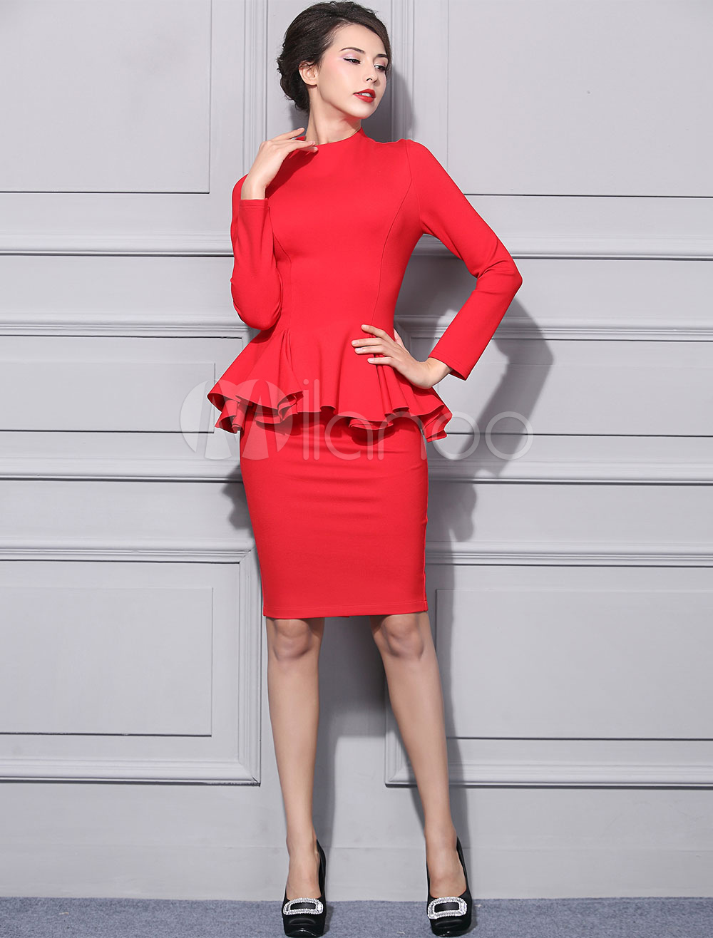 2 Piece Skirt Set Red High Collar Long Sleeve Ruffle Top With Bodycon Skirt Cheap clothes, free shipping worldwide
