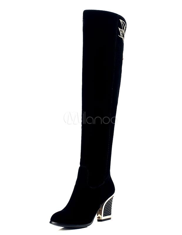 Botas sobre la rodilla Piel sintética negras Color liso estilo moderno KKDHQ
