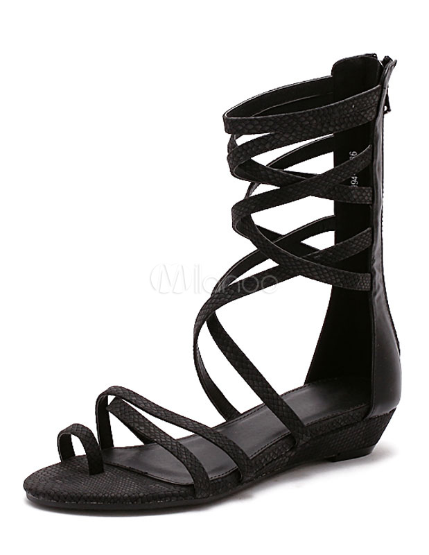 Black Gladiator Sandals Flat Strappy Sandal Boots For Women-No.1 ... 77a42c52d