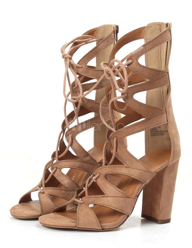 Damen Ausgeschnitten Chunky Sommer Für Gladiator Stiefel Schnüren Heel Sandale srhBQtdCx