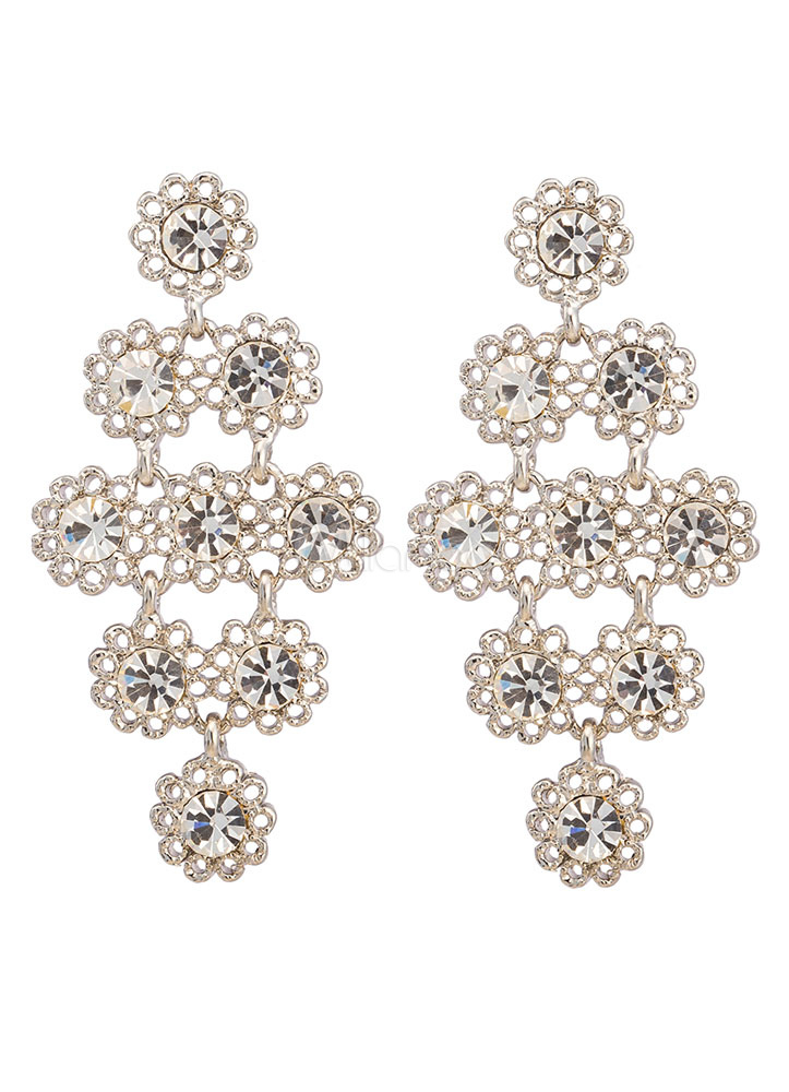 Silver Wedding Earrings Alloy Elegant Rhinestone Statement Wedding Jewelry