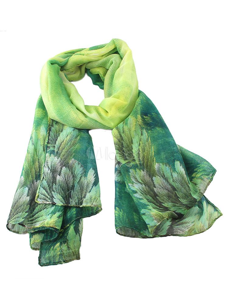 Women's Green Scarf Rayon Printed Lightweight Scarf