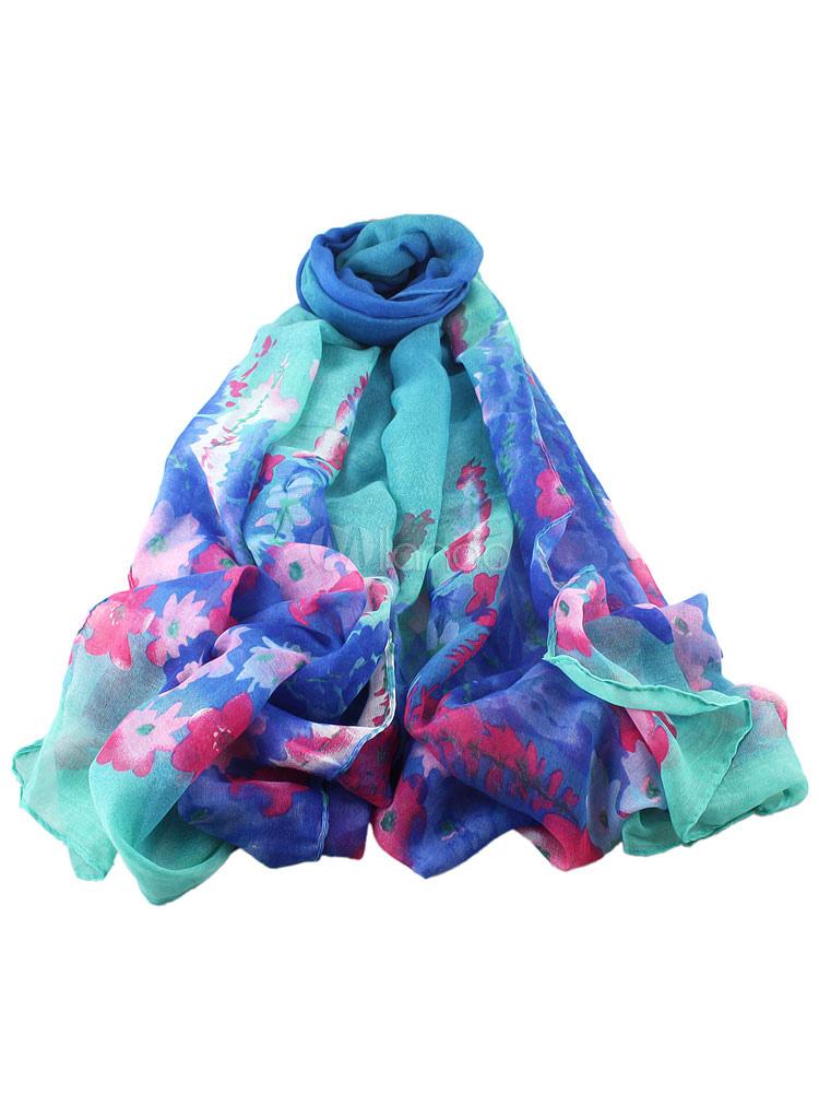 Multicolor Chiffon Scarf Floral Print Silk Scarf For Women