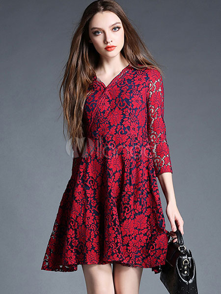 Buy Women's Lace Dresses Long V Neck 3/4 Sleeve Semi-sheer Flare Dress for $53.99 in Milanoo store