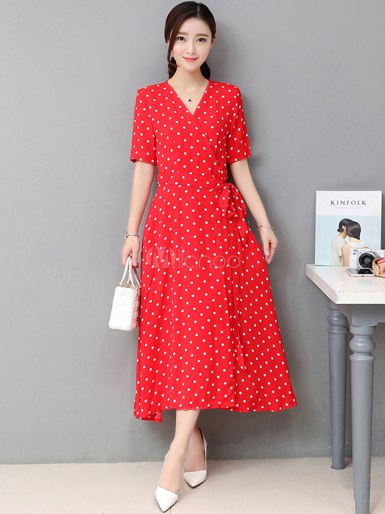 Buy Red Long Dress Printed V Neck Short Sleeve Women's Polka Dot Wrap Dress for $35.99 in Milanoo store