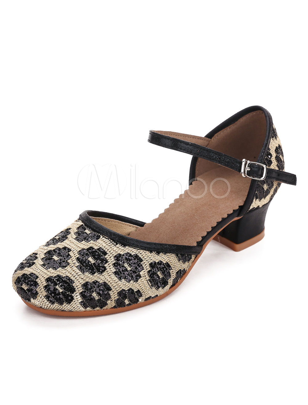 Black Ballroom Shoes Jacquard Chunky Heel Strap Dance Shoes For Girls