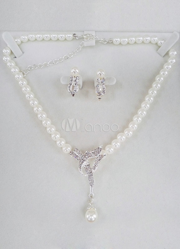 Pearl Wedding Jewelry Vintage Bridal Necklace Set With Rhinestone Clip On Earrings