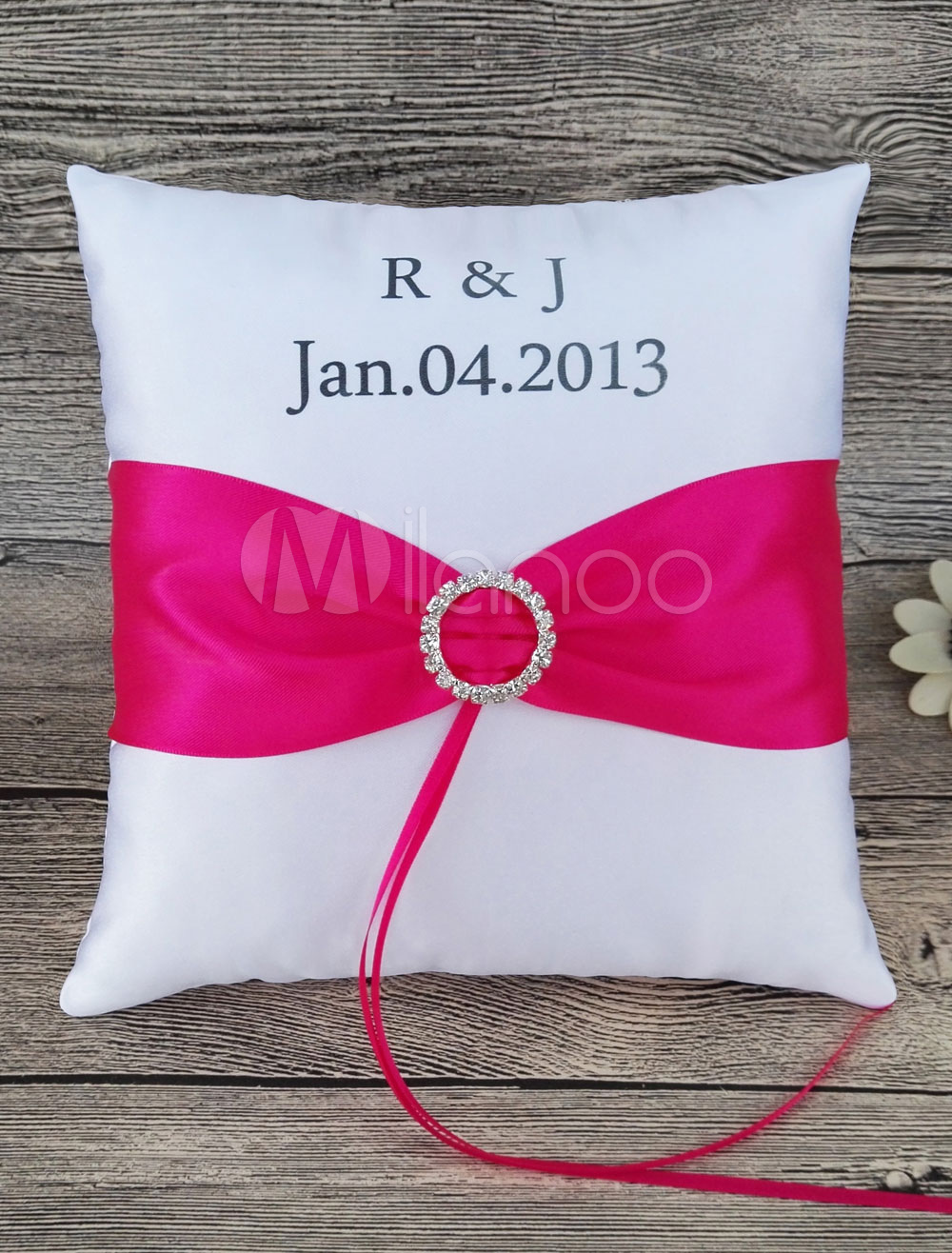 Ring Bearer Pillow Customized Rose Red Sash Initial And Date ...