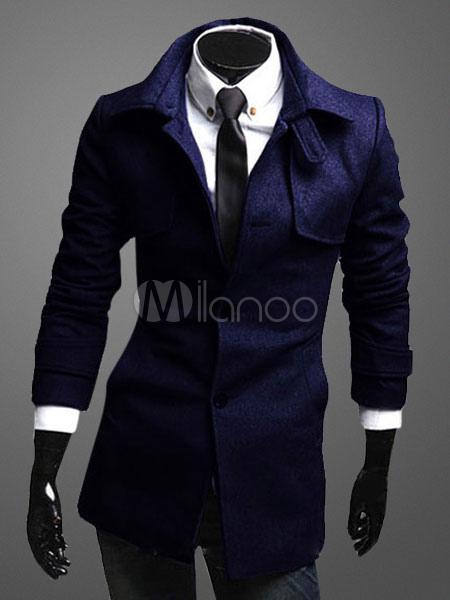 Buy Men's Trench Coat Dark Navy Cuff Strap Winter Coat for $36.99 in Milanoo store