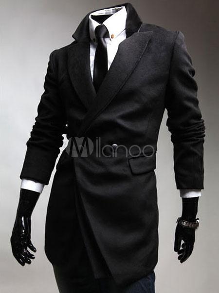 Buy Men's Black Peacoat Double Breasted Long Sleeve Winter Coat for $39.59 in Milanoo store