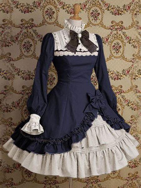 Classic Lolita Dress OP Stand Collar Irregular Ruffles Bow Dress In Deep Blue
