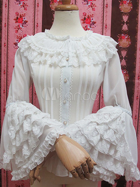Buy Sweet Lolita Blouses White Chiffon Ruffle Tiered Hime Sleeves Lolita Shirts for $48.79 in Milanoo store