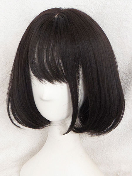 Short Lolita Wigs Straight Kawaii Rinka Haircut With Bang In Matte Black
