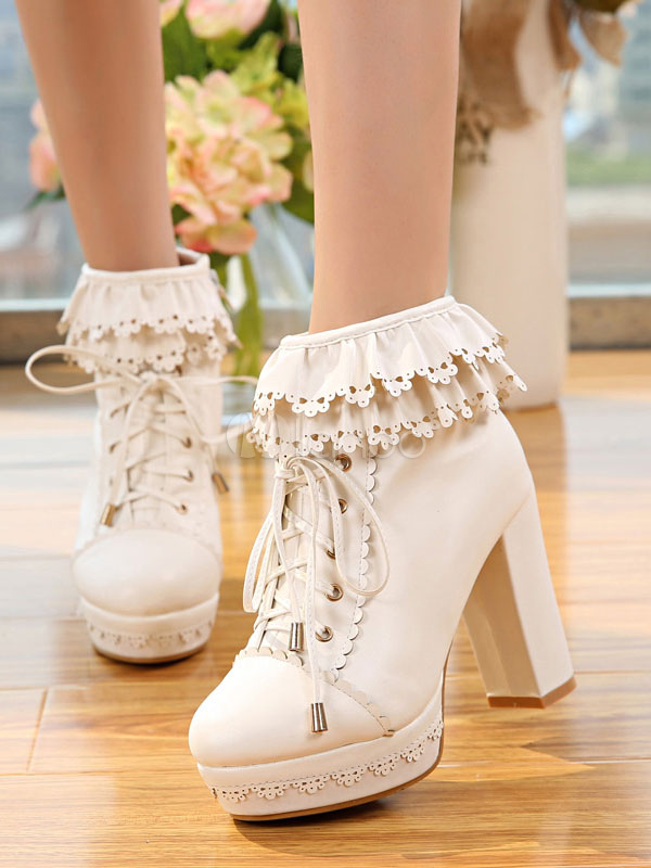 White Lolita Boots Platform Chunky Heel Scalloped Lace Up Ankle Boots