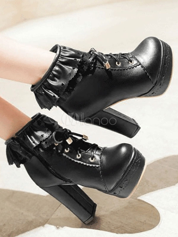 dcf957c176f ... White Lolita Boots Platform Chunky Heel Scalloped Lace Up Ankle Boots-No.2  ...