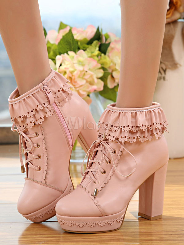 4f188a09109 ... White Lolita Boots Platform Chunky Heel Scalloped Lace Up Ankle Boots -No.3